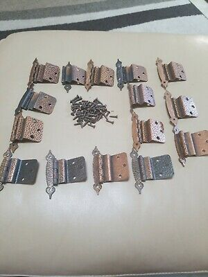 Lot of 15 Vintage Hammered Copper coated Cabinet Door Hinges