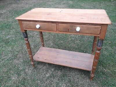 Victorian pine 2 draw Console Hall Table writing desk