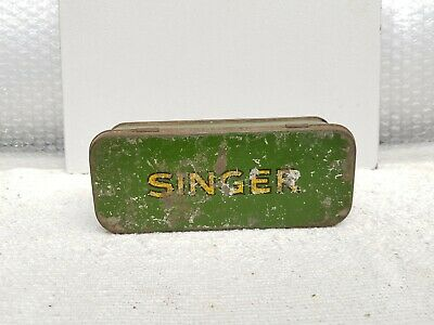 1930s Vintage Old Singer Sewing Machine Accessories Litho Tin Box U.S.A.