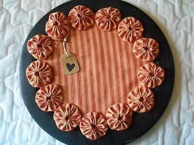 Primitive Red Stained Stripe Ticking Fabric Candle Mat Table Topper YoYo Doily 7