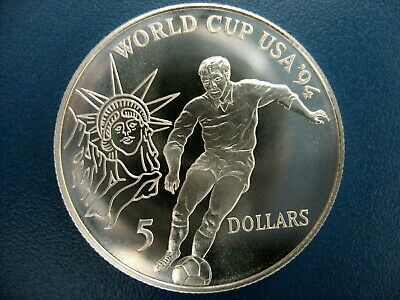 """5 Dollars  Silber  NIUE  1991  """" WORLD CUP USA  1994  """"    PP"""