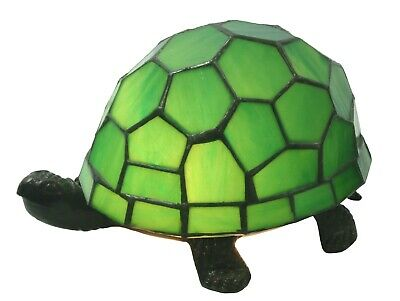 22Cm Tiffany Style Table Lamp Green Turtle/Tortoise Glass Shade + Light Bulb