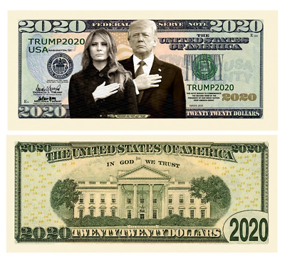 Donald Trump Melania 2020 First Couple Dollar Bill Presidential MAGA with Holder