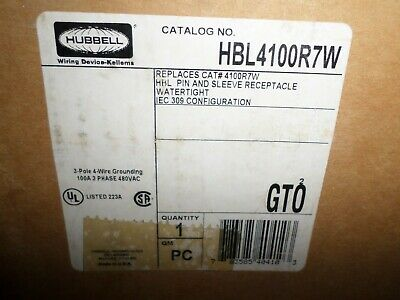*NEW IN BOX* HUBBELL HBL4100R7W 100-Amp PIN&SLEEVE RECEPTACLE 4100R7W 480Vac