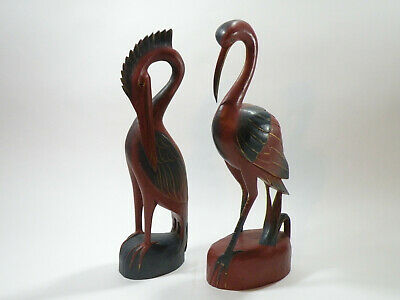 """Large Pair Of Vintage Balinese 18"""" Wooden Hand Carved Water Bird Sculptures"""
