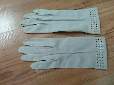 Vintage Ladies' Formal Day Gloves Pale Grey Cross Stitch Cuff Size 6 Small VGC