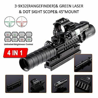 4-in-1 Combo 3-9x32EG Tactical Optical Reticle Riflescope Rangefinder New!