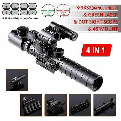 4-in-1 Combo 3-9x32EG Tactical Optical Reticle Riflescope Rangefinder Newest!