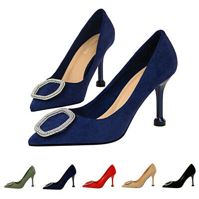 Ladies Diamante Buckle Decor Party Shoes Women Kitten Heel Pointy Toe Shoes Size