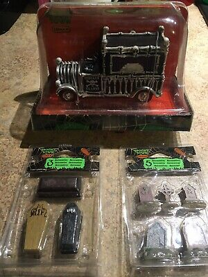 Lemax Spooky Town LOT- Hearse-Tombstones-Coffins
