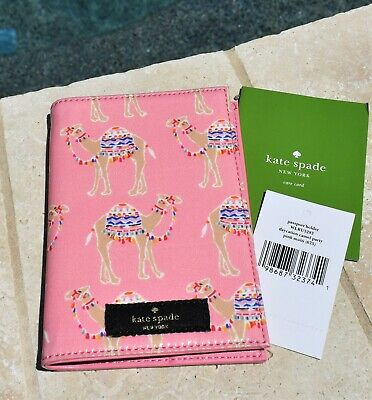 🌸  NWT Kate Spade  Daycation Camel Party Passport Holder Pink NEW $78