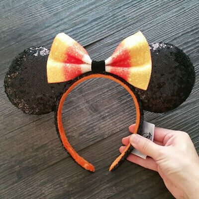 NEW Disney Parks 2019 Halloween Candy Corn Bow Minnie Mouse Ears Headband Hat