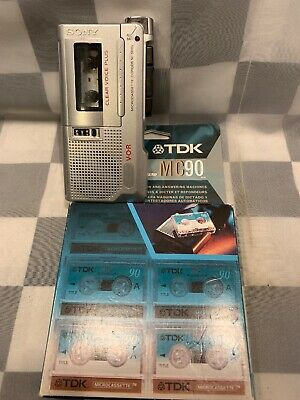 SONY Micro Cassette Recorder Clear Voice Plus M-560V 6 Pack TDK Tapes