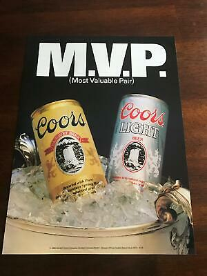 1987 VINTAGE 8X11 PRINT Ad FOR COORS+COORS LIGHT MVP BEER MOST VALUABLE PAIR