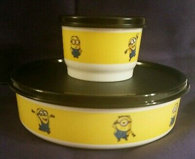 New Tupperware Minion 2c Wonderlier Bowl + 1/2c Snack Cup w/Seals!  Adorable!