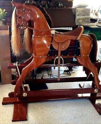Handcrafted Mahogany, Redgum Vintage Style Brand New Rocking Horse Heirloom