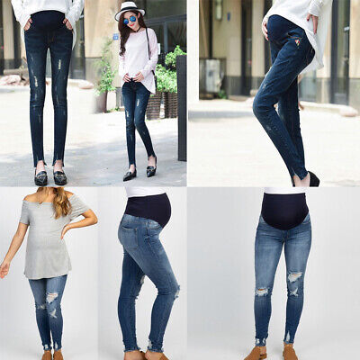 Maternity Pregnant Woman Ripped Jeans Pants Trousers Nursing Prop Belly Legging