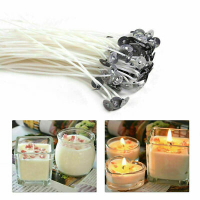 Long 100 x Pre Waxed Wicks For Home Candle Making Cotton With Sustainers 15cm UK