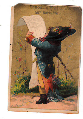 Sanborn Vail & Co Market St San Francisco Squire Reading Scroll Vict Card c1880s