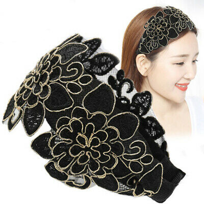 Vintage Ladies Flowers Lace Headband Hairband Alice Wide Band Hair Accessories