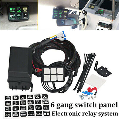 AU 6 Gang on-off Control Switch Panel Electronic Relay System For Jeep Truck UTV