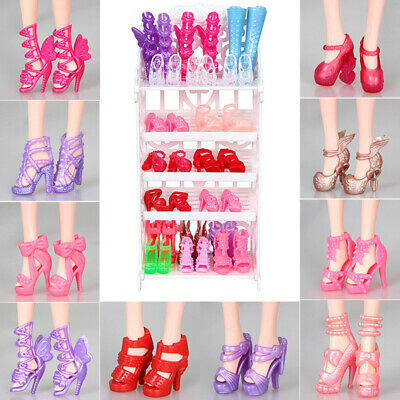 Qu_ 10Pairs 18inch Doll Shoes High Heels Sandals Boots Toy Accessories Girls Gif
