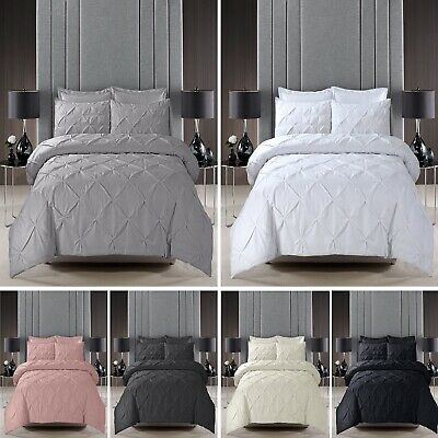 Handmade PINTUCK Duvet Cover Set Quilt Cotton Blend Bedding Double King Bed