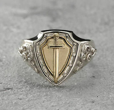 Solid 925 Sterling Silver Cross Knights Signet Gemstone Huge Mens Ring Jewelry