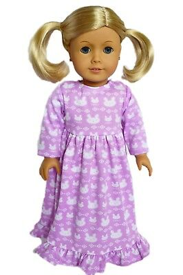 Purple Bunny Nightgown Pajamas Outfit Fits 18 Inch American Girl Doll Clothes