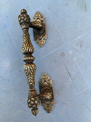 Large Antique Ornate Solid Brass Door Pull Handle