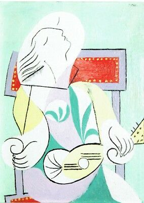Woman with a book 1917 Pablo Picasso Poster Canvas Picture Art Print A3-A4