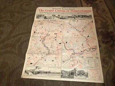 Vintage Map Of The Grand Canyon of Pennsylvania
