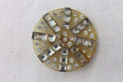 1950s LARGE CELLULOID AND GLASS CLOAK BUTTON   5cms (1149)