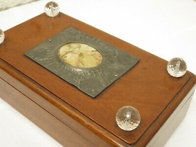 Beautiful Arts & Crafts Mahogany And Pewter Cigar / Cigarette / Jewellery Box