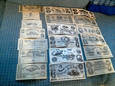 Lot of 19 Confederate Money Reproduction Notes