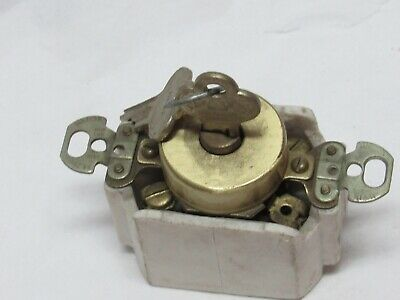 Vintage Hart & Hegeman Corbin Single-Pole Locking Brass Switch w/ REAL Key