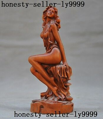 Chinese Boxwood wood hand carved Sexy plump beauty belle girl Young woman Statue
