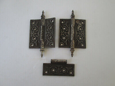 Lot 2 Antique Ornate Steel Door Hinge Floral Design Eastlake Steeple Top 4066