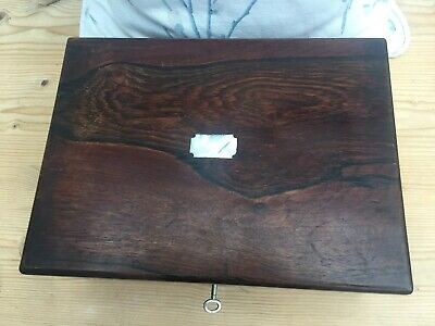 Vintage Rosewood Wooden Sewing Box, Inner Tray & Working Lock & Key & Contents