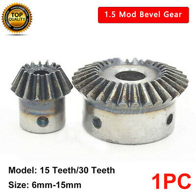 1.5 Mod Bevel Gear 15T/30T Bore 5/6/8/10/12/15mm 90° 1:2 Pairing Bevel Gear New