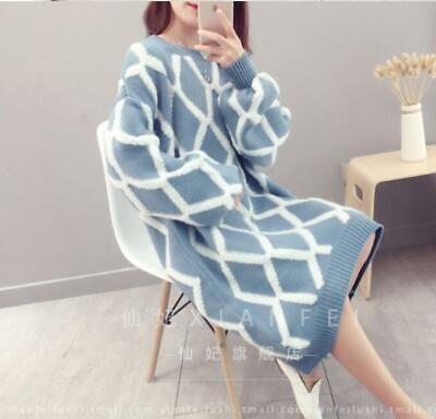 Womens Long Stripe Knitted Crew Neck Jumper Pullover Sweater Soft Elasticity Hot