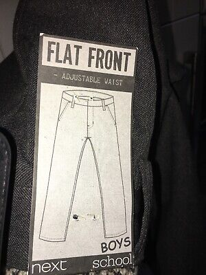 Boys Flat Front Grey School Trousers 5 Years NEXT NEW Adjustable Waist