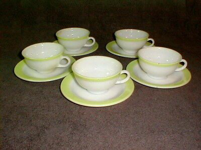 Pyrex 1960s cups saucers lime green band 5 sets milk glass retro