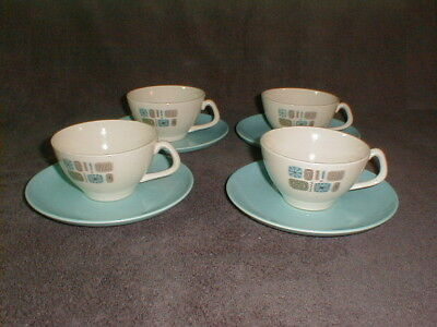Canonsburg pottery temporama cups saucers 8 pcs mid century dura gloss (lot 1)