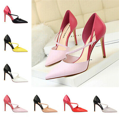 Ladies Strappy Shallow High Heels Pumps Womens Pointed Toe Sandals Office Shoes
