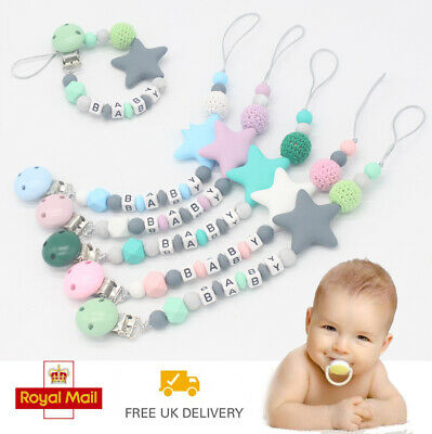 Dummy Metal Clips Baby Teeth Chain Holder Pacifier Teething Strap Silicone Gift