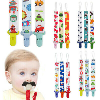 3X Dummy Clip Baby Soother Plastic Clips Chain Holder Strap Pacifier Shower Gift