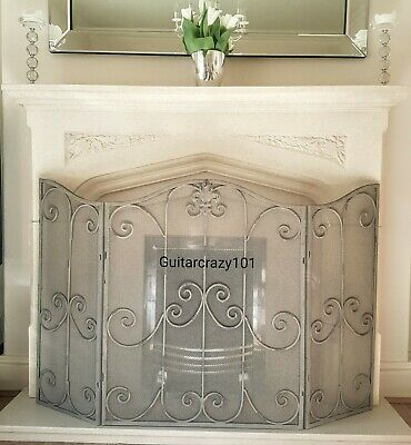 Large Aged Grey Metal FIRESCREEN folding ornate French style