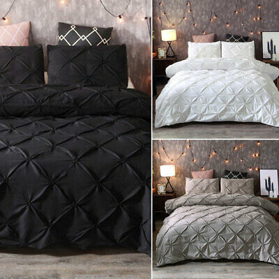 Duvet Cover with Pillowcase Bedding Set Charcoal White Highams Pintuck Pleated