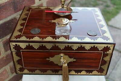Quality Rare Regency C 1815 Multi Brass Inlay Rosewood Writing Slope Box Lovely.